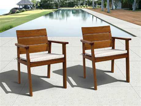 International Home Miami  Amazonia Eucalyptus Nelson Dining Arm Chair (2 Piece Set)