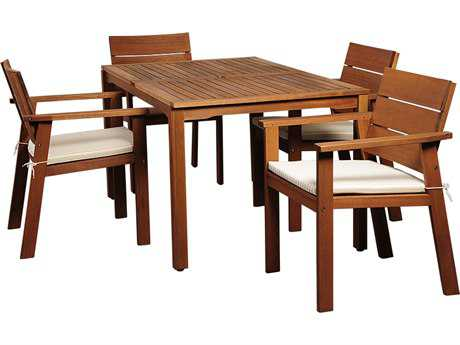 International Home Miami  Amazonia Eucalyptus Rectangular Five piece Nelson Dining Set