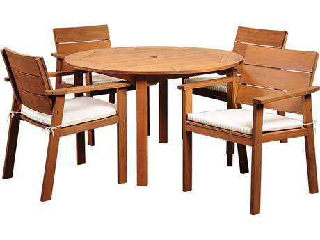 International Home Miami  Amazonia Eucalyptus Round Five piece Nelson Dining Set