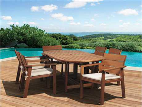 International Home Miami  Amazonia Eucalyptus Oval Seven piece Extendable Nelson Dining Set