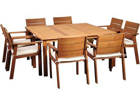 International Home Miami  Amazonia Eucalyptus Square Nine piece Nelson Dining Set