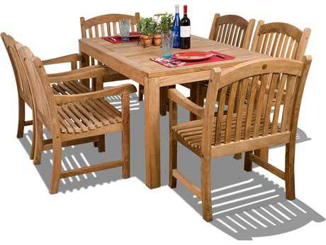 International Home Miami  Amazonia Teak Rectangular Seven Piece Oslo Dining Set PatioLiving