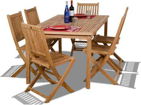 International Home Miami  Amazonia Teak Rectangular Seven Piece Prague Dining Set