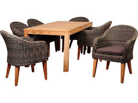 International Home Miami Amazonia BrynEucalyptus 7 Piece Teak/Wicker Rectangular Dining Set PatioLiving