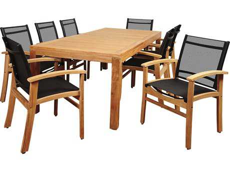 International Home Miami Amazonia Terrace 9 Piece Teak Rectangular Dining Set with Black Sling Chair