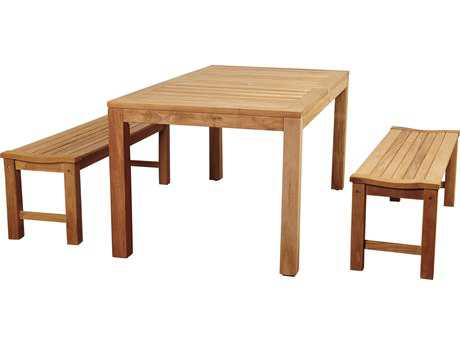 International Home Miami Amazonia Rinjani 3 Piece Teak Rectangular Dining Set