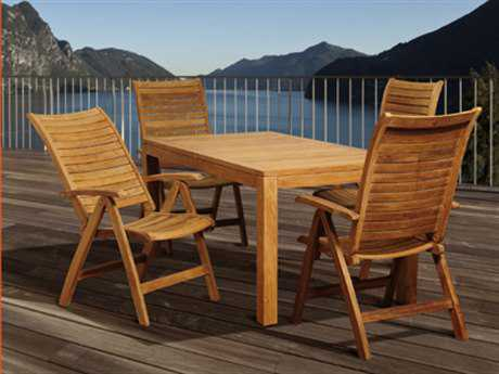 International Home Miami  Amazonia Teak Rectangular Five Piece Desmond Dining Set