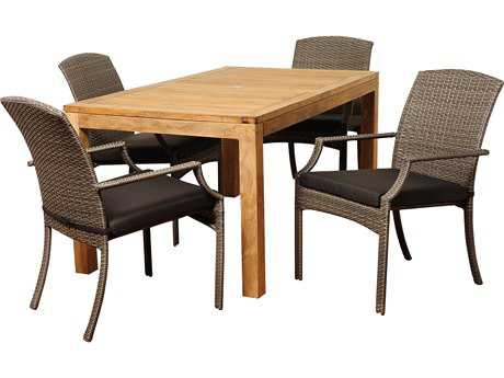 International Home Miami  Teak/Wicker Amazonia Rectangular Five Piece Wicker Shelton Dining Set with Grey Cushions