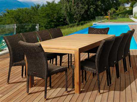 International Home Miami  Amazonia Teak/Wicker Rectangular 11 Piece Christopher Dining Set