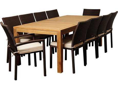 International Home Miami  Amazonia Teak/Wicker Rectangular 11 Piece Darren Dining Set with Off-White Cushions