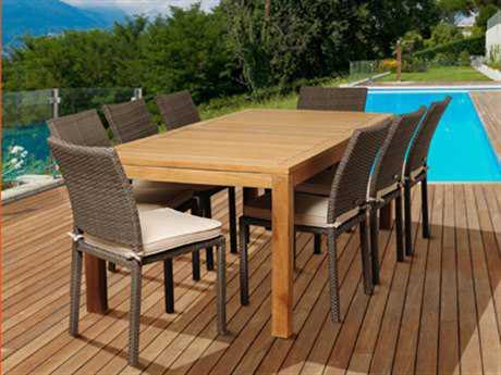 International Home Miami  Amazonia Teak/Wicker Rectangular Nine Piece Damian Dining Set with Off-White Cushions