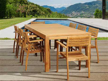 International Home Miami  Amazonia Teak Rectangular Nine Piece Boyd Dining Set