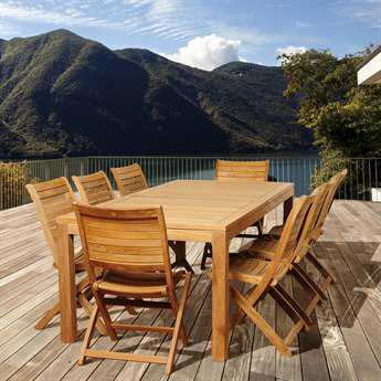 International Home Miami  Amazonia Teak Rectangular Nine Piece Bradley Dining Set