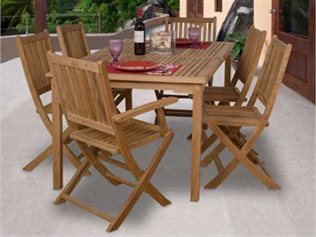 International Home Miami  Amazonia Teak Rectangular Seven Piece Rotterdam Dining Set