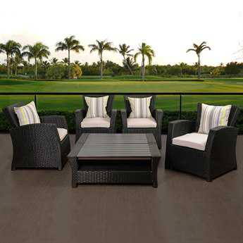 International Home Miami Atlantic Staffordshire 6 Piece Black Wicker Seating Set with Light Grey Cushions