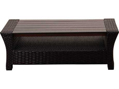 International Home Miami Atlantic Staffordshire Black Wicker Coffee Table with Plastic Eucalyptus Top