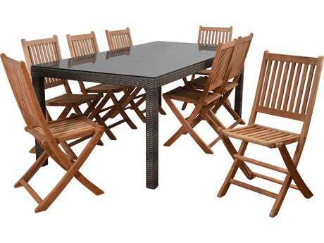 International Home Miami Atlantic Morgan 9 Piece Rectangular Dining Set
