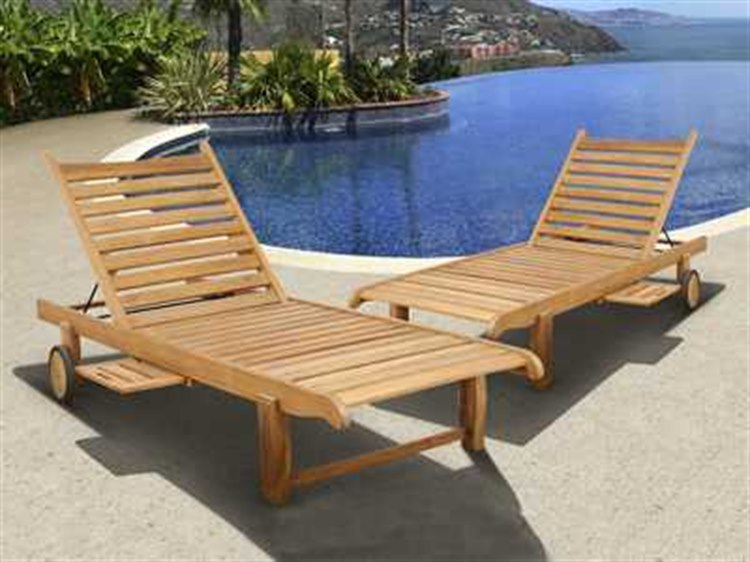International Home Miami  Amazonia Teak Two Piece Cairo Lounger Set