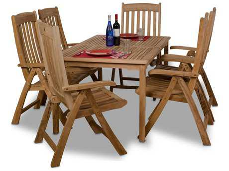 International Home Miami  Amazonia Teak Rectangular Seven Piece Zurich Dining Set