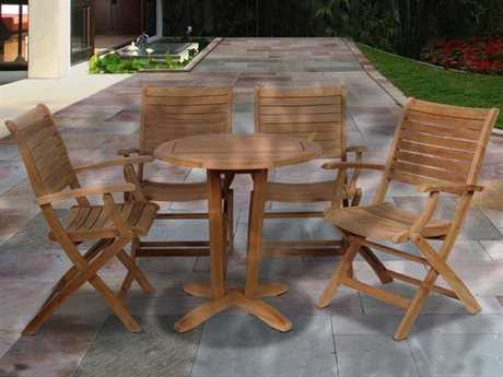 International Home Miami  Amazonia Teak Round Five Piece Aruba Bistro Set