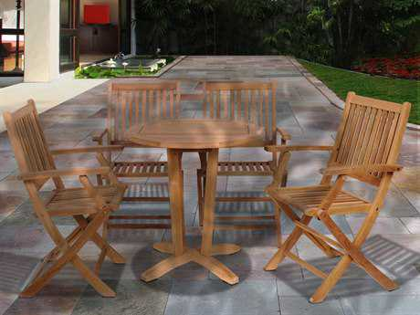 International Home Miami  Amazonia Teak Round Five Piece Kansas Bistro Set