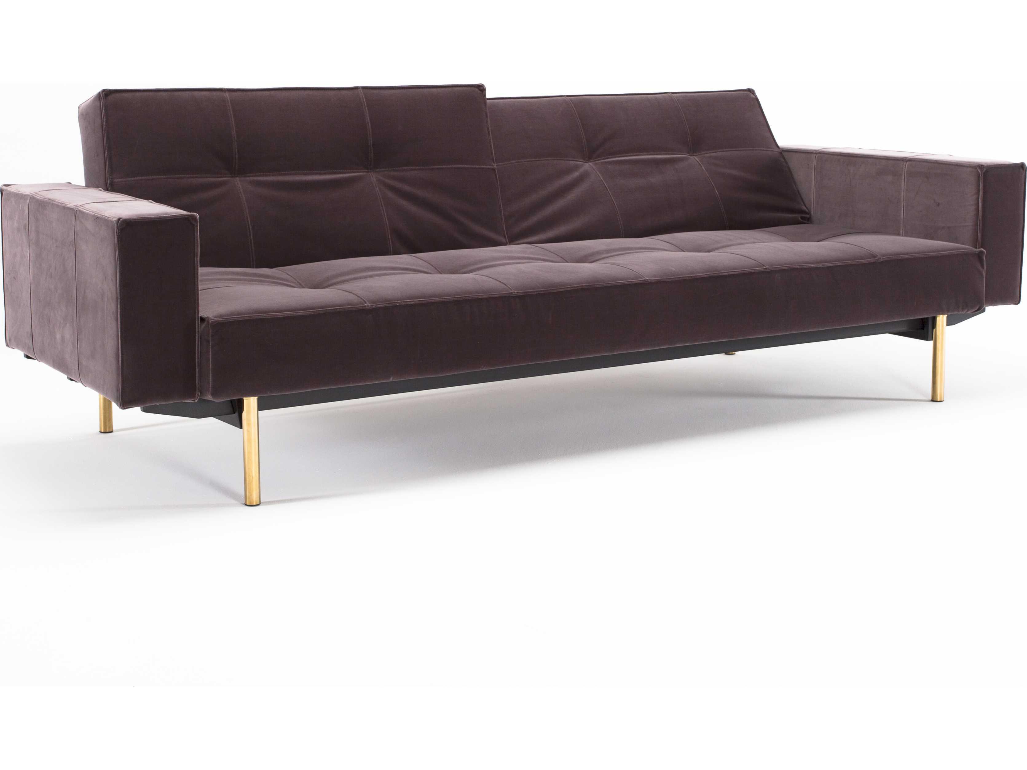 innovation split back brass leg sofa bed with arm. Black Bedroom Furniture Sets. Home Design Ideas