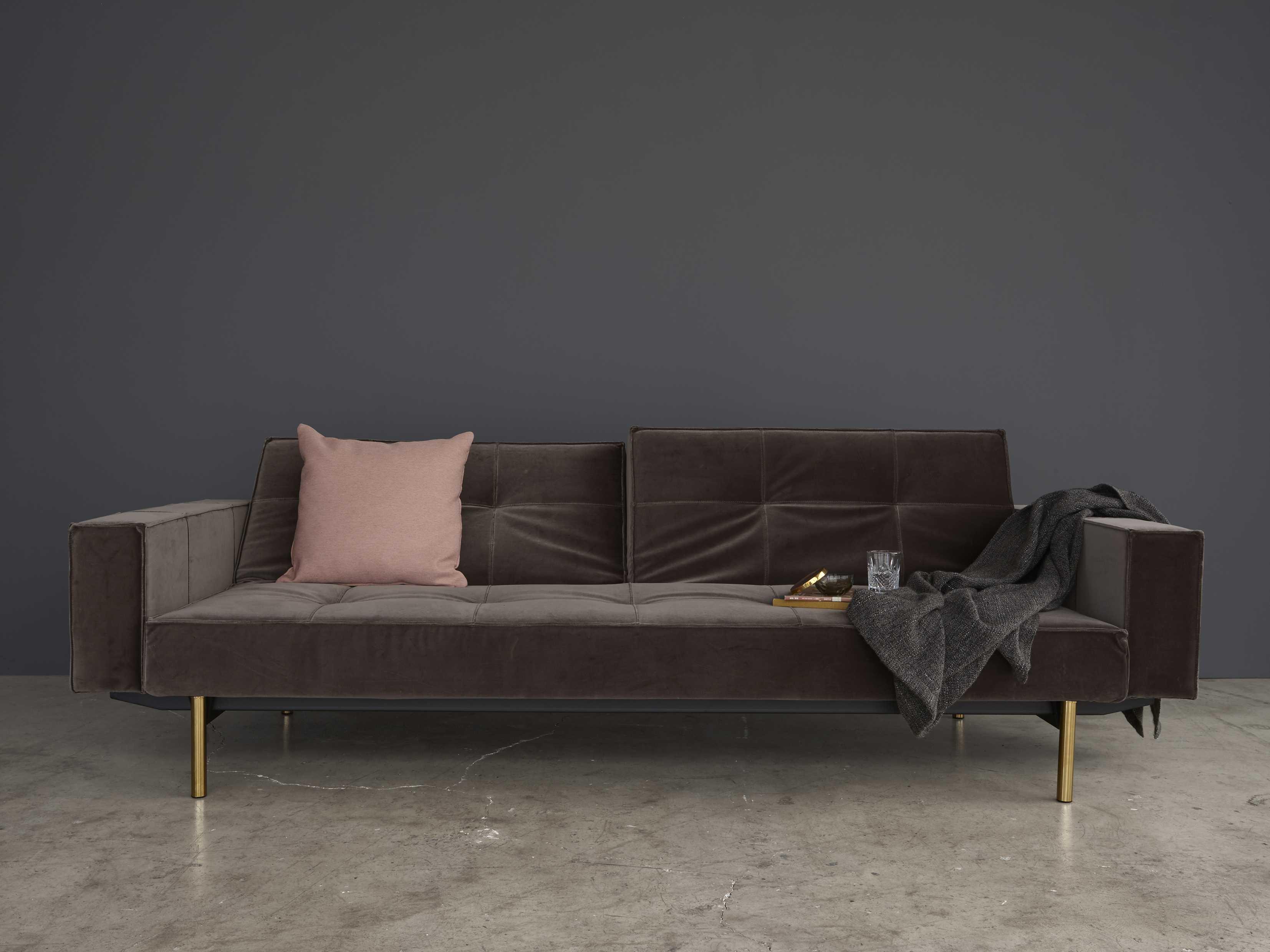 Innovation Splitback Brass Leg Sofa Bed With Arm