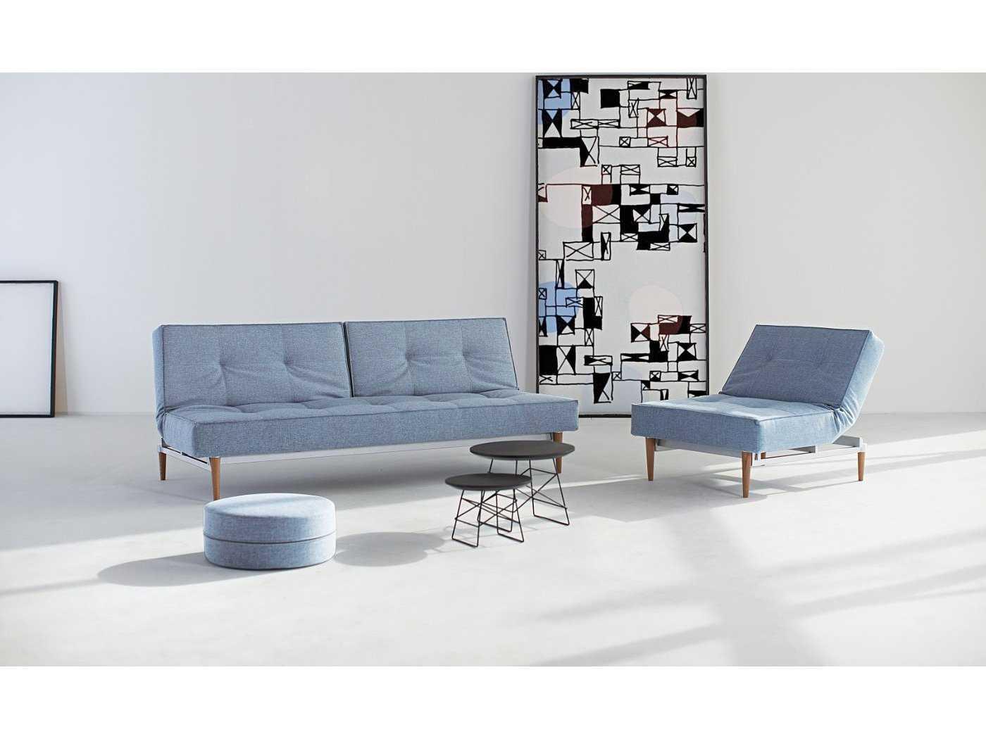 innovation splitback sofa bed with light wood legs iv9474101016. Black Bedroom Furniture Sets. Home Design Ideas