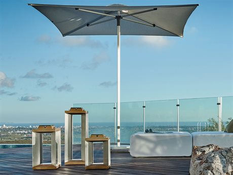 Jardinico JCP1 7.5ft Square Center Post Push-Up Lift No Tilt Aluminum Umbrella with Base