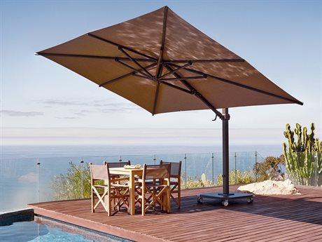 Jardinico JCP4 10 x 14ft Foot Crank Lift Infinite Tilt Rectangular Aluminum Umbrella with Base