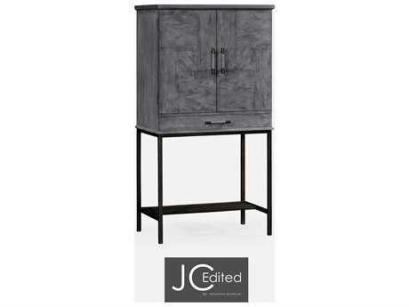 Jonathan Charles JC Edited - Casually Country Antique Dark Grey On Veneer Cabinet Bar