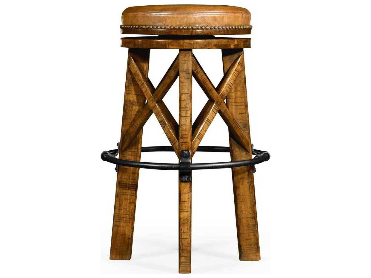 Jonathan Charles JC Edited Casually Country Walnut Country Farmhouse Bar Stool