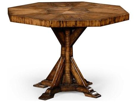 Jonathan Charles Huntingdon Light Walnut Sawn Distressed 42 Octagon Dining Table