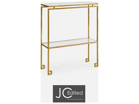 Jonathan Charles JC Edited - Simply Elegant Light Antique Gold Gilded Iron Small Narrow Console Table with Antique Glass Top