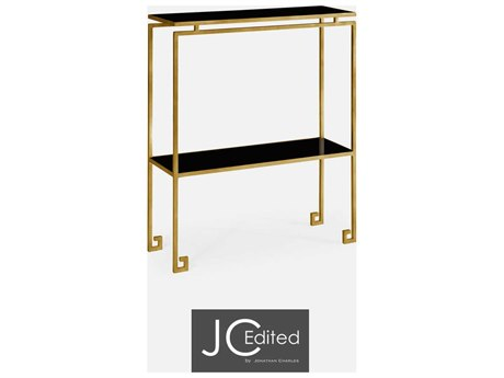 Jonathan Charles JC Edited - Simply Elegant Light Antique Gold Gilded Iron Small Narrow Console Table with Black Glass Top