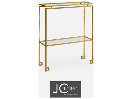 Jonathan Charles JC Edited - Simply Elegant Light Antique Gold Gilded Iron Small Narrow Console Table with Clear Glass Top