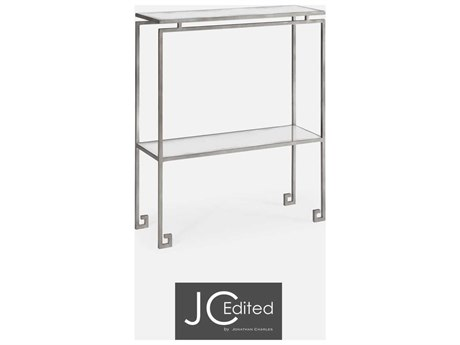 Jonathan Charles JC Edited - Simply Elegant Light Antique Silver Iron Small Narrow Console Table with Antique Glass Top