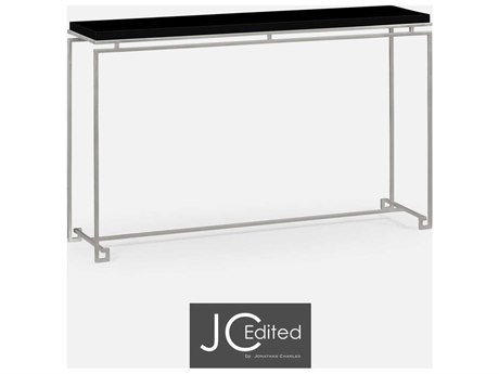 Jonathan Charles JC Edited - Simply Elegant Light Antique Silver Iron Large Console Table with Black Glass Top