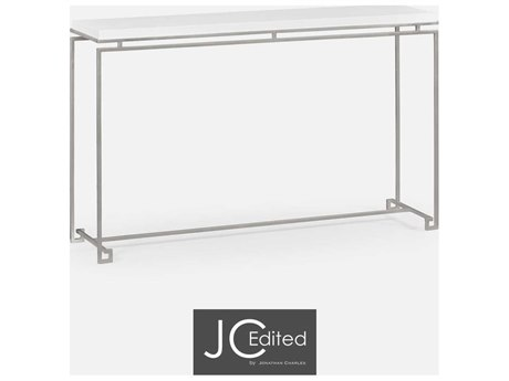 Jonathan Charles JC Edited - Simply Elegant Light Antique Silver Iron Large Console Table with White Glass Top