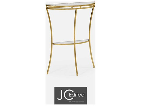 Jonathan Charles JC Edited - Simply Elegant Light Antique Gold Gilded Iron Demilune Console Table with Antique Glass Top
