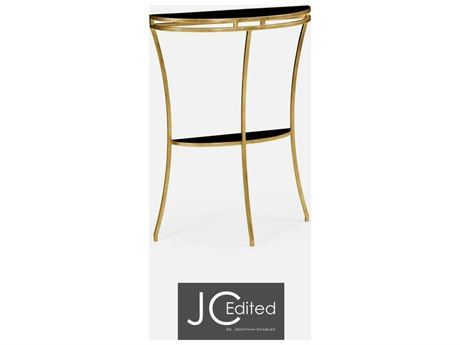 Jonathan Charles JC Edited - Simply Elegant Light Antique Gold Gilded Iron Demilune Console Table with Black Glass Top