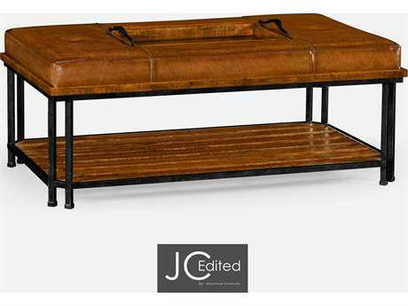 Jonathan Charles JC Edited - Casually Country Leather Antique Chestnut Medium-Water Base Ottoman