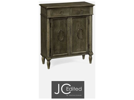 Jonathan Charles JC Edited - Casually Country Dark Grey Chestnut Narrow cabinet with cupboard