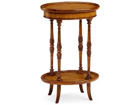 Jonathan Charles Windsor Medium Walnut 17.75 x 12.5 Oval End Table