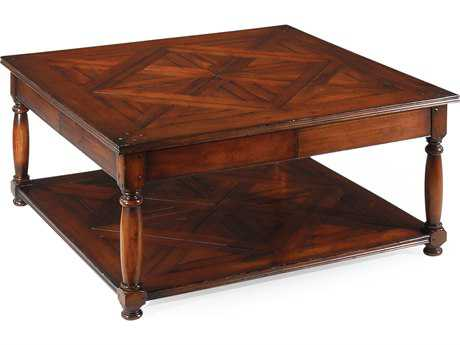 Jonathan Charles Country Farmhouse Dark Walnut 42 Square Coffee Table