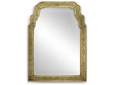 Jonathan Charles Versailles Genuine 38 x 52 Gold-Leaf Eglomise Glass Wall Mirror