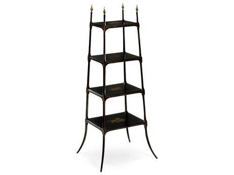 Jonathan Charles Kensington Painted Formal Black & Gold Etagere Rack