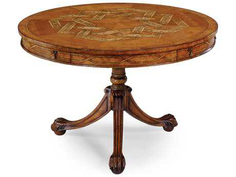 Jonathan Charles Versailles Light Satinwood 48 Round Pedestal Table
