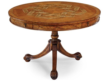 Jonathan Charles Versailles Light Satinwood 48 Round Pedestal Table