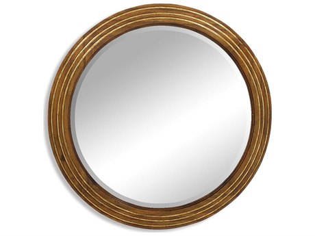 Jonathan Charles Portobello 36 Round Medium Walnut Wall Mirror
